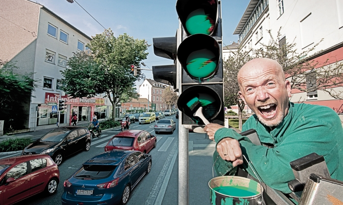 """Photographs """"Myth 3: Synchronized traffic lights are going to solve all problems"""""""